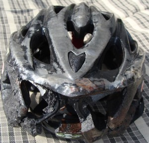 Helmet Damaged from Crash